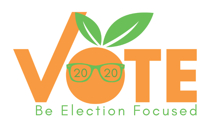 "Vote logo with 2020 glasses and a line underneath reading ""Be Election Focused"""