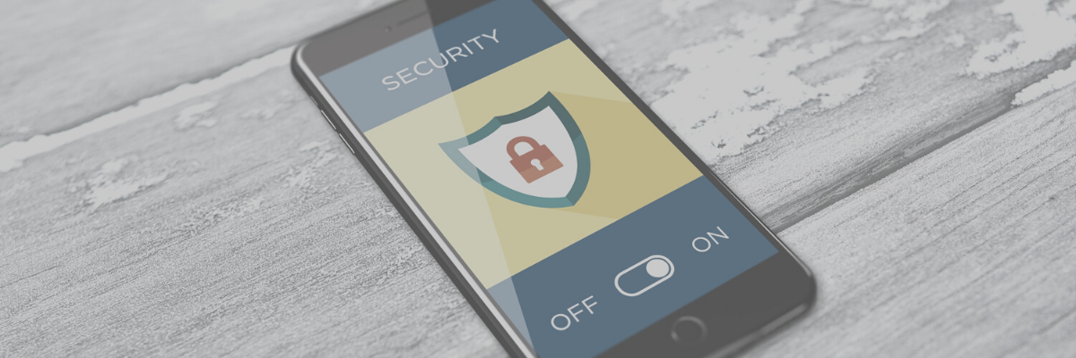 Security icon on smartphone.